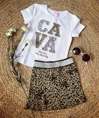 Girl t-shirt CAVA print - WIT/ARMY