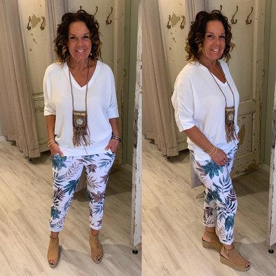 Karline v hals blouse shirt - wit