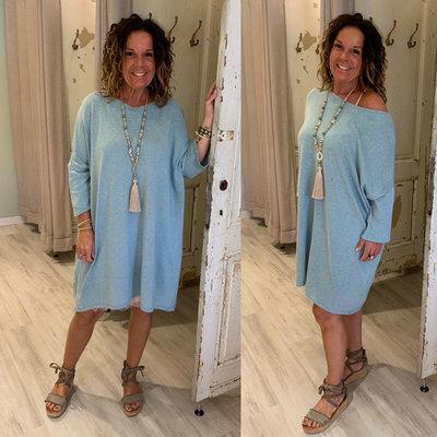 Shalina sweater tuniek dress - PETROL