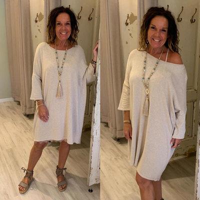Shalina sweater tuniek dress - BEIGE