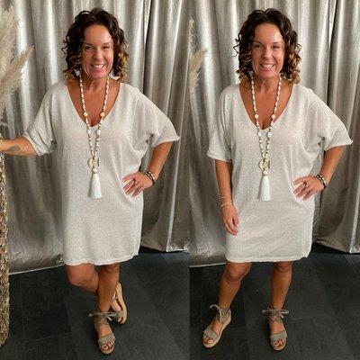 Victoria Sparkle tuniek/dress met V hals - Zand