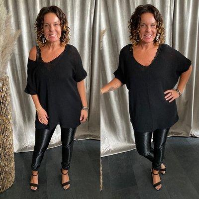 Vera sweaters shirt met V hals - zwart