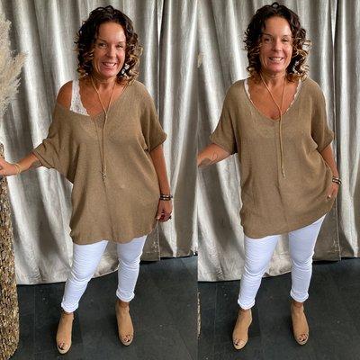 Vera sweaters shirt met V hals - camel