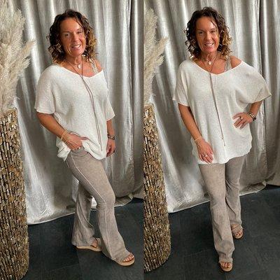 Vera sweaters shirt met V hals - ecru