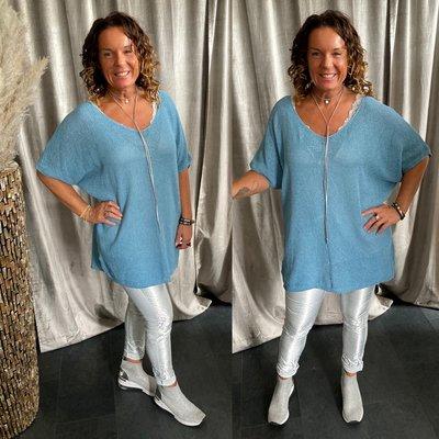 Vera sweaters shirt met V hals - blauw