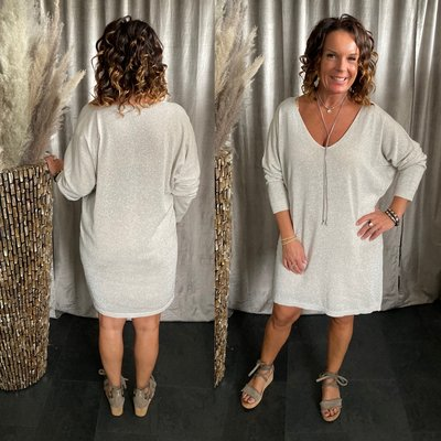 Jorisa Sparkle tuniek/dress met V hals - Zand