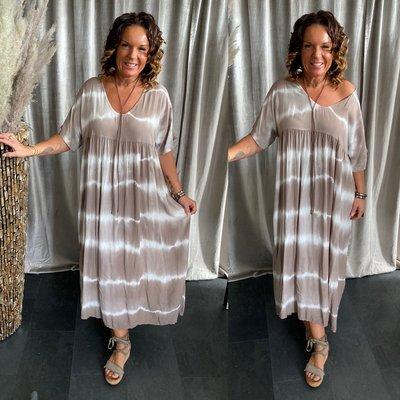 Simona batik dress - taupe