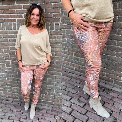 Happy Lisa Print joggingbroek - roest bruin/beige