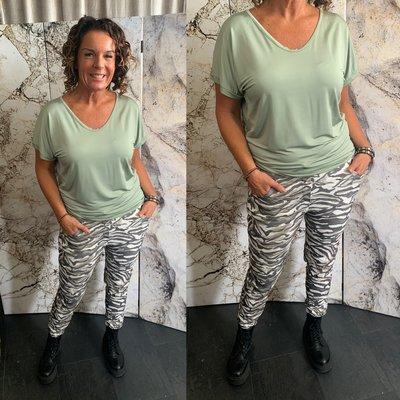 Happy Love Zara Zebra Print joggingbroek - zwart/wit/army 0.1