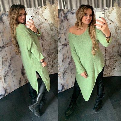 Anne Asymmetrische sweater - appel groen