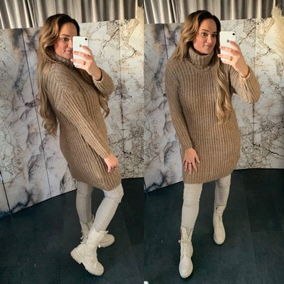 Gonny Colsweater dress - camel/grijs