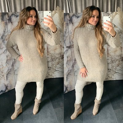 Gonny Colsweater dress - taupe/grijs