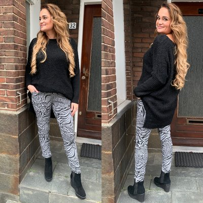 Anne-Marie  Animal Print joggingbroek - grijs