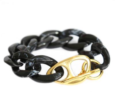 love ibiza - ARMBAND BLACK MARBLE CHAIN GOLD