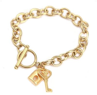 love ibiza -  ARMBAND LOCK AND KEY GOLD