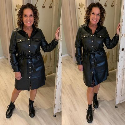 C&S Dulce Leather Look Dress