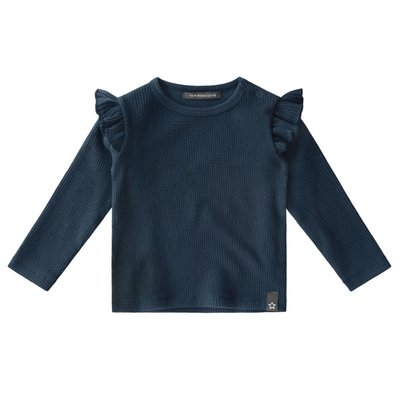 Navy - Waffle   Ruffle Shoulder Top - Your Wishes