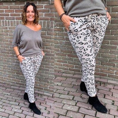 Leonie Leopard joggingbroek - room taupe