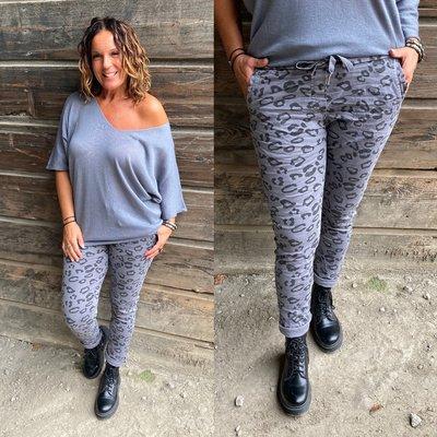 Leonie Leopard joggingbroek - grijs