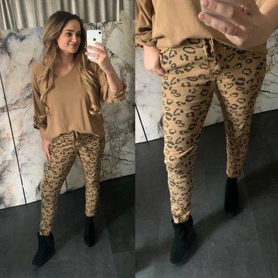 Leonie Leopard joggingbroek - camel
