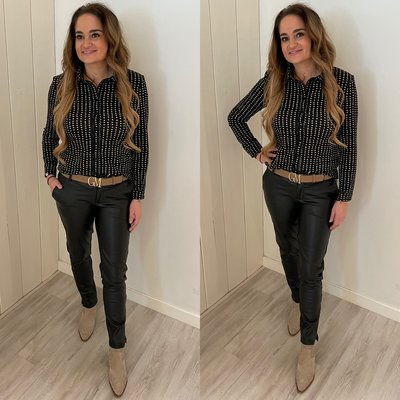 C&S blouse Ina Zwart/Zand