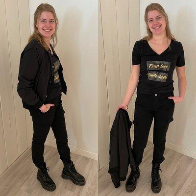 C&S FLORA FEARLESS t-shirt - zwart