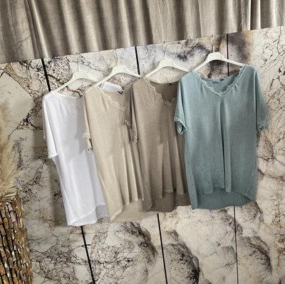Marie  Shirt met kant - beige