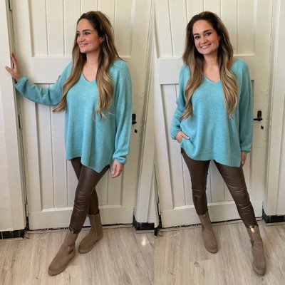 Melissa Sweater V hals - petrol
