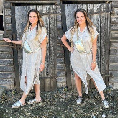 Linda Linnen dress/vest - taupe
