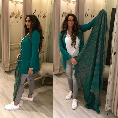 C&S designs sjaal ZEBRA PRINT green