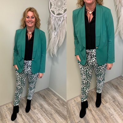 G MAXX travel kwaliteit blazer GREEN met gevoerde leopard print