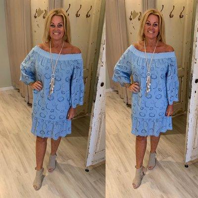 Embroidery Dress - lavendel blue