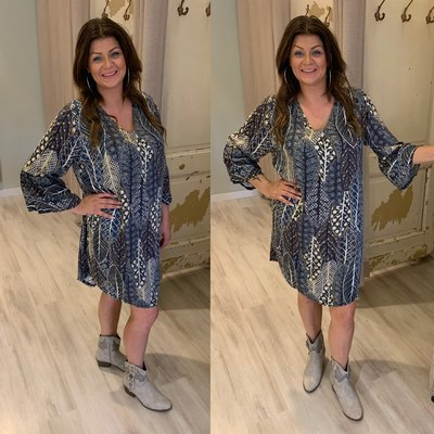 Olivia feather print tuniek/dress - blauw