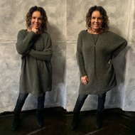 TEDDY EXTRA LONG sweater - ARMY 0.3
