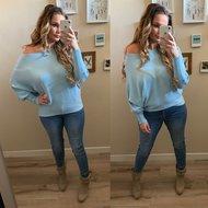 Butterfly sweater RIB Stof - blue
