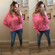 Butterfly sweater RIB Stof - fruitella roze